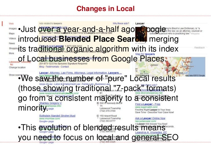 What About Local/Maps SEO? NormalAlgorithm  MapsAlgorithm     http://www.davidmihm.com/local-search-ranking-factors.shtml