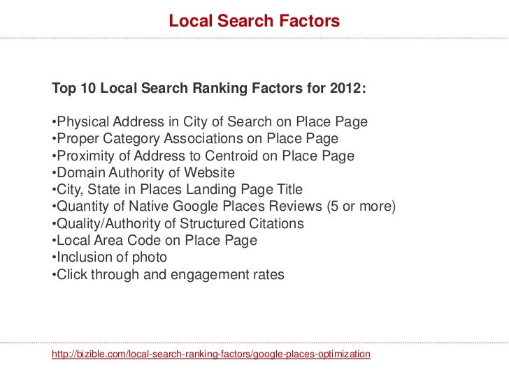 Additional Local Search Factors•Search category or a synonym in review content = 0.97improvement in rank.•Search category ...
