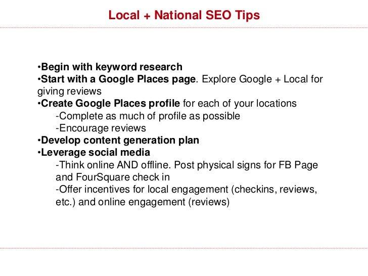 Winning the local/national SEO war (part deux)•Modeling strategies•Link building•Use alternative media (sturbridge lakes r...