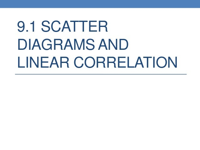 9.1 SCATTERDIAGRAMS ANDLINEAR CORRELATION