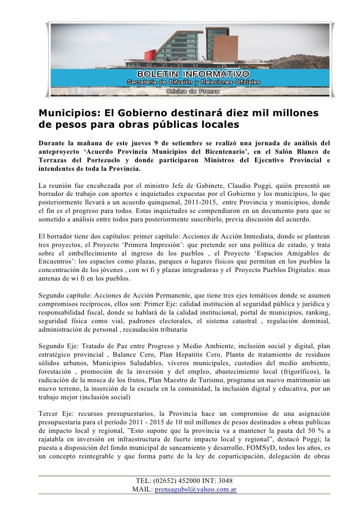 Municipios: El Gobierno destinará diez mil millones de pesos para obras públicas locales Durante la mañana de este jueves ...