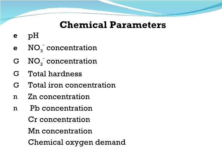 Chemical Parameters <ul><li>pH  </li></ul><ul><li>NO 3 -  concentration </li></ul><ul><li>NO 2 -  concentration </li></ul>...