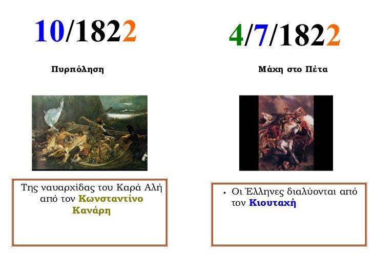 10/1822                         4/7/1822     Πυρπόληση                         Μάχη στο ΠέταΤης ναυαρχίδας του Καρά Αλή   ...