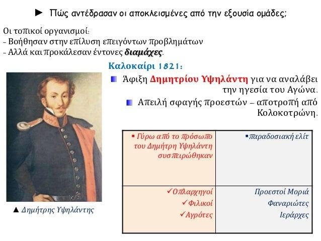 ► Πώς αντέδρασαν οι αποκλεισμένες από την εξουσία ομάδες;  Καλοκαίρι 1821:  Άφιξη Δημητρίου Υψηλάντη για να αναλάβει  την ...