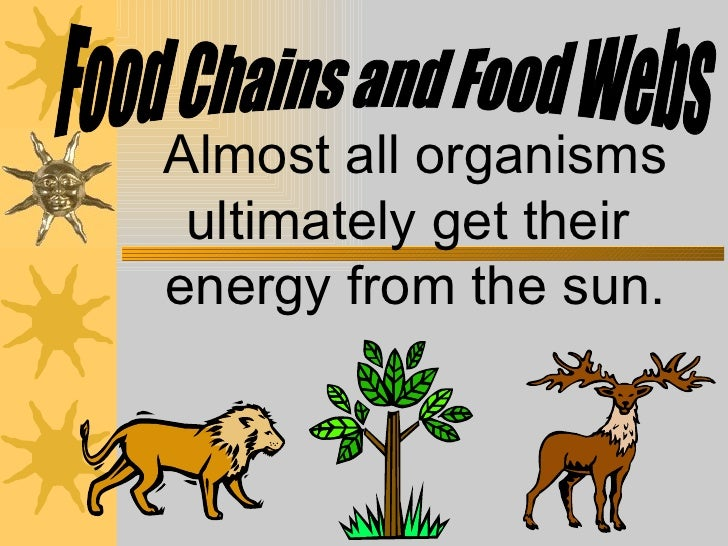 Almost all organisms ultimately get their  energy from the sun. Food Chains and Food Webs