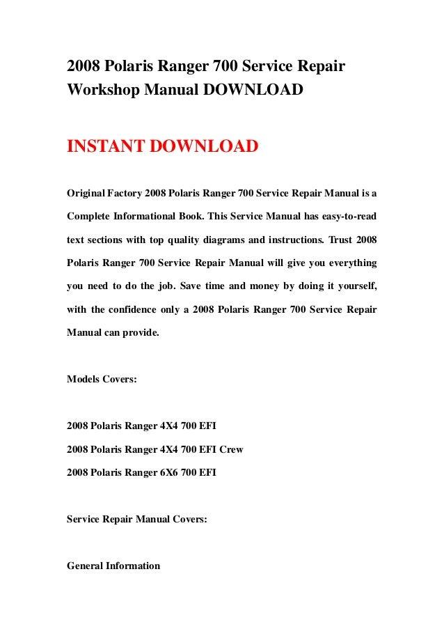 2008 polaris ranger 700 service repair workshop manual rh slideshare net 2004 polaris ranger owners manual 2006 Polaris Ranger