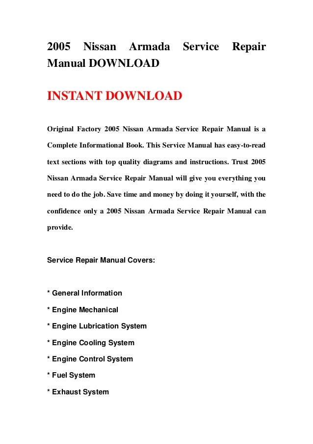 2005 Nissan Armada                         Service         RepairManual DOWNLOADINSTANT DOWNLOADOriginal Factory 2005 Niss...