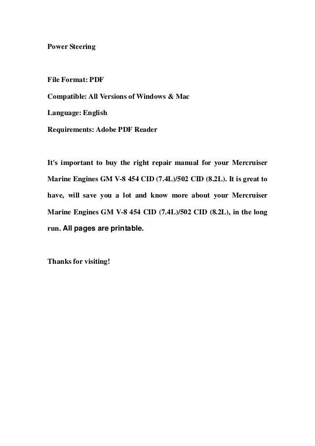 Mercruiser Marine Engines GM V-8 454 CID (7 4L)/502 CID (8 2L) Servic…