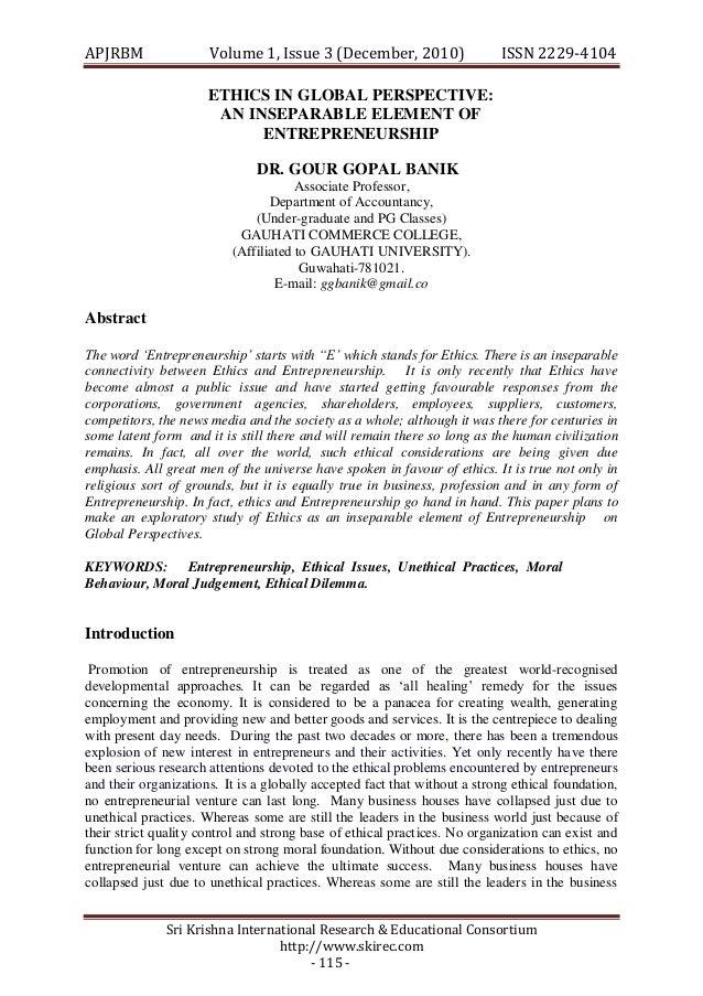 APJRBM                Volume 1, Issue 3 (December, 2010)                   ISSN 2229-4104                      ETHICS IN G...