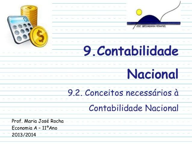 9.Contabilidade Nacional 9.2. Conceitos necessários à Contabilidade Nacional Prof. Maria José Rocha Economia A – 11ºAno 20...