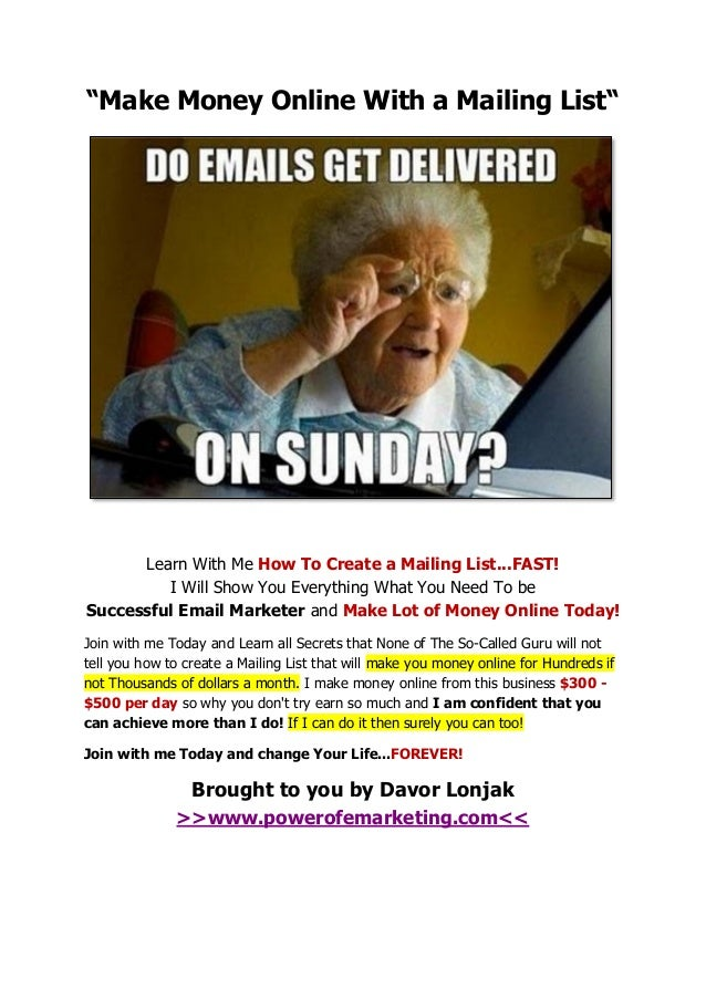 """""""Make Money Online With a Mailing List""""  Learn With Me How To Create a Mailing List...FAST! I Will Show You Everything Wha..."""
