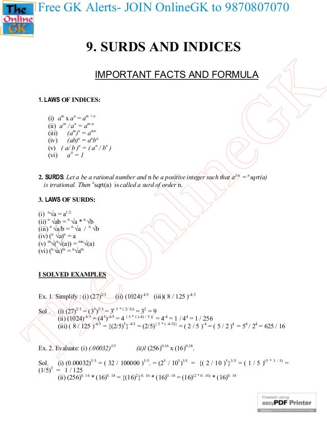 surds questions and answers pdf