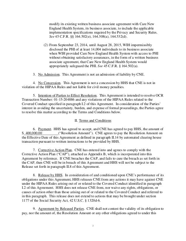 HIPAA Security Rule consent agreement with OCR