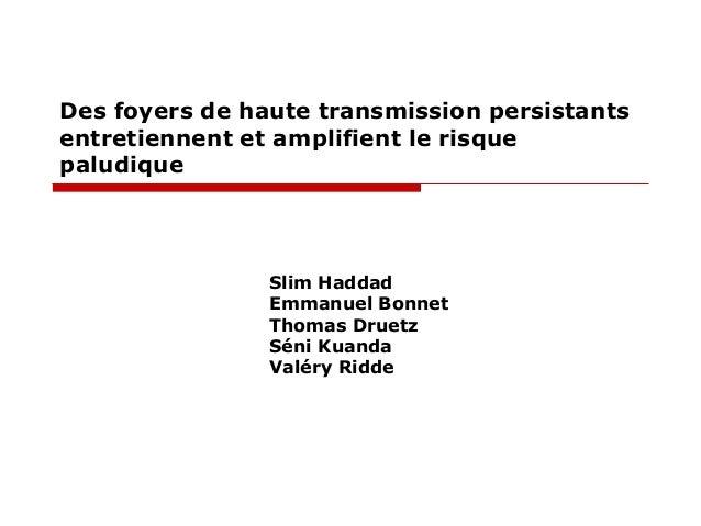 Des foyers de haute transmission persistants entretiennent et amplifient le risque paludique  Slim Haddad Emmanuel Bonnet ...