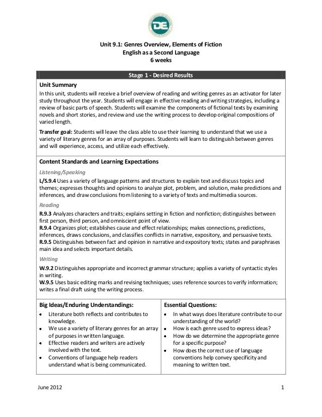 Unit 9.1: Genres Overview, Elements of Fiction English as a Second Language 6 weeks Stage 1 - Desired Results Unit Summary...