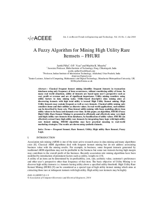 Int. J. on Recent Trends in Engineering and Technology, Vol. 10, No. 1, Jan 2014  A Fuzzy Algorithm for Mining High Utilit...