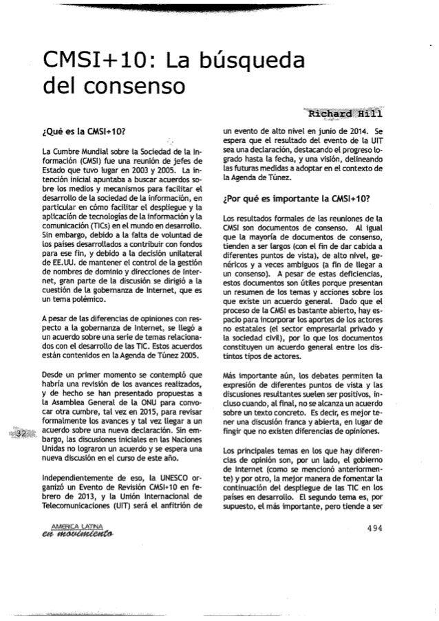 América Latina: CMSI+10: La búsqueda del consenso