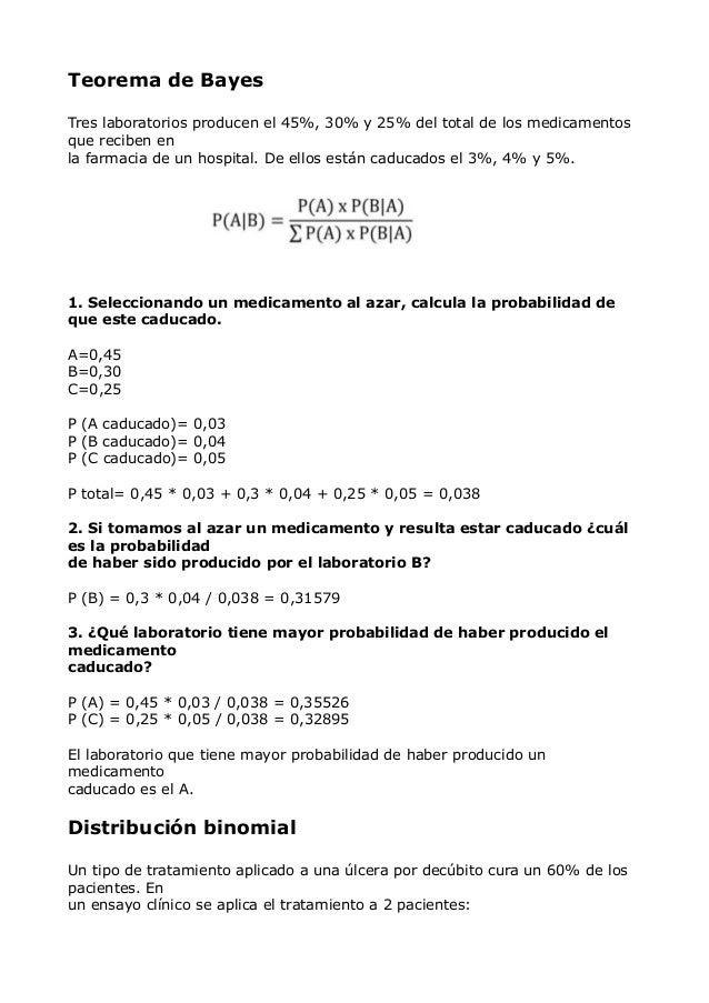 Teorema de Bayes Tres laboratorios producen el 45%, 30% y 25% del total de los medicamentos que reciben en la farmacia de ...