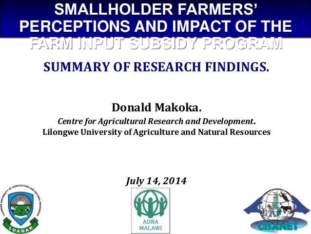 SUMMARY OF RESEARCH FINDINGS. Donald Makoka. Centre for Agricultural Research and Development. Lilongwe University of Agri...