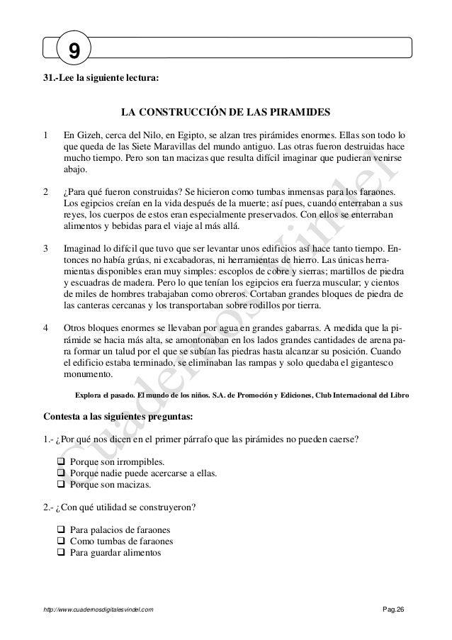 http://www.cuadernosdigitalesvindel.com Pag.26 31.-Lee la siguiente lectura: LA CONSTRUCCIÓN DE LAS PIRAMIDES 1 En Gizeh, ...