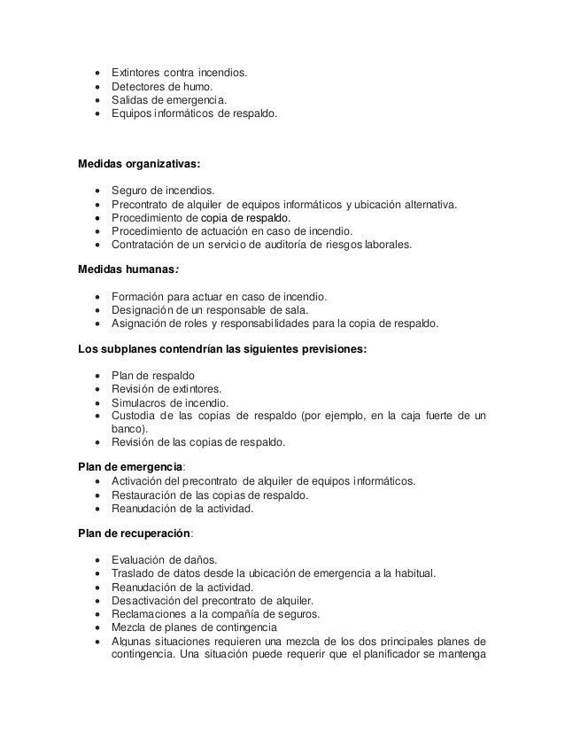 9.1) plan de contingencias.