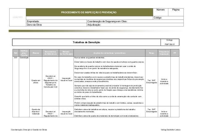 LOGOTIPO  PROCEDIMENTO DE INSPECÇÃO E PREVENÇÃO  Número Página  Código:  Empreitada: Coordenação de Segurança em Obra:  Do...