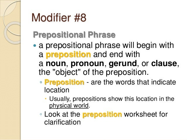 Modifiers – Prepositional Phrase Worksheet with Answers