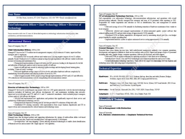 httpwwwexecutiveresumewriterso rgcio resume sample - Sample Cio Resume