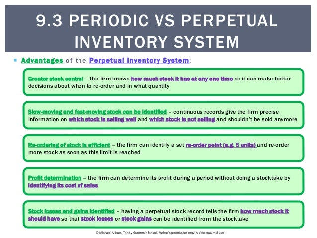 perpetual inventory system We've provided the fundamental differences between perpetual and periodic  inventory system, in tabular form here the first difference.