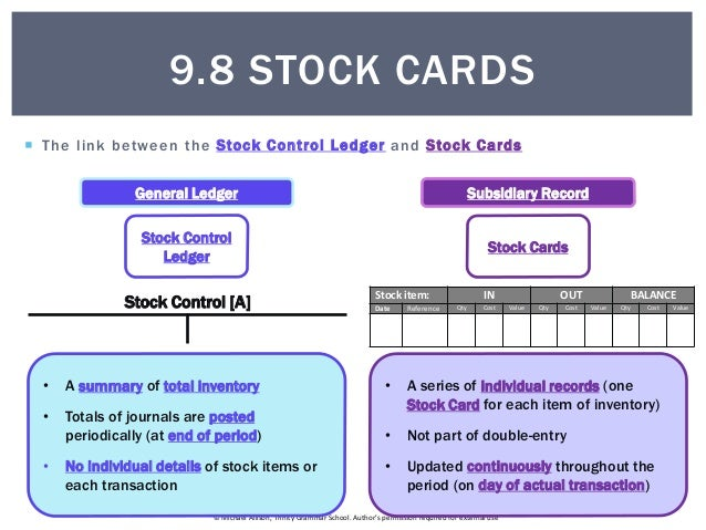 9.8 Stock Cards