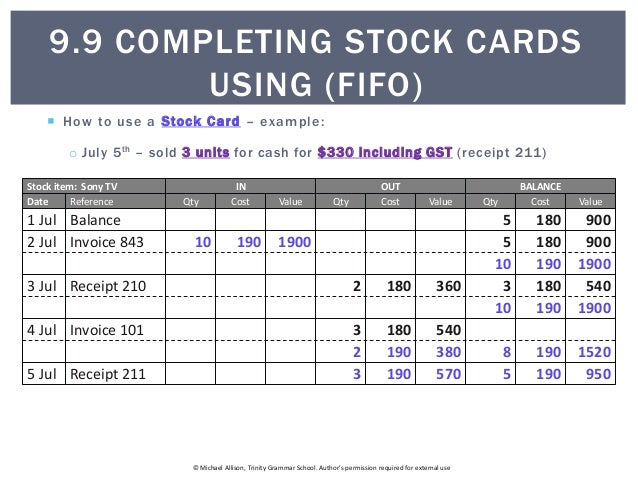 9.9 Completing Stock Cards using FIFO