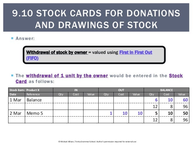 stock card