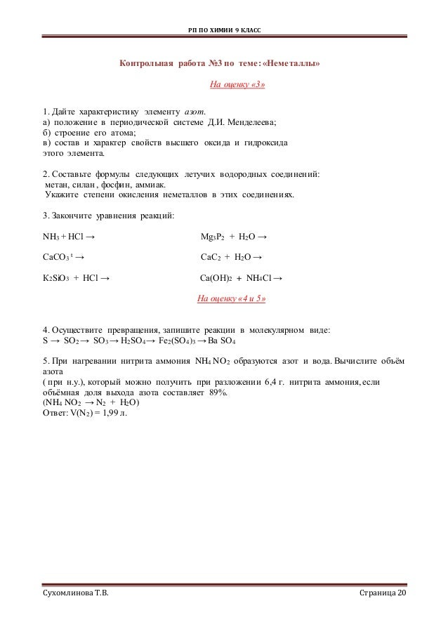 рп по химии кл 20 РП ПО ХИМИИ
