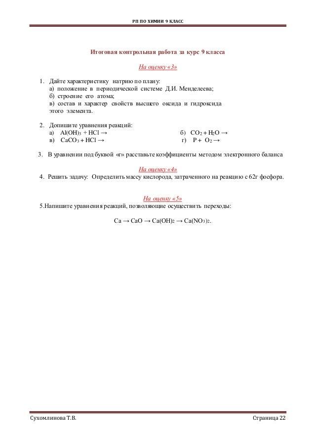 рп по химии кл 22 РП ПО ХИМИИ 9 КЛАСС Сухомлинова Т В Страница22 Итоговая контрольная работа