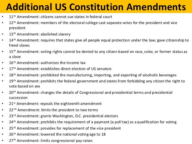 us constitution amendments essay The textbook discusses fourteenth amendment of the united states constitution as being primarily an amendment which focuses on civil rights prior to the fourteenth.