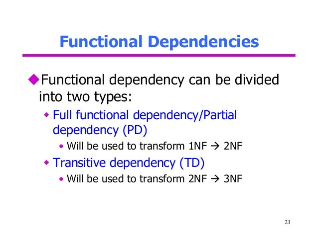 functional dependency transitive dependency and demoralization Functional dependency (normalization) asad khailany, dsc the concept of functional dependency (also known as normalization was introduced by professor codd in 1970.