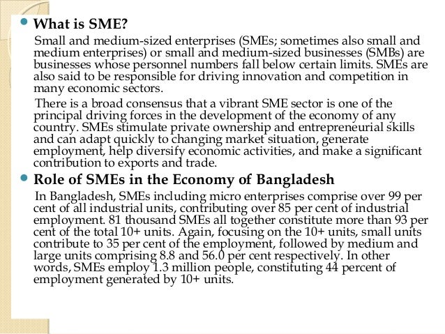 Small and Medium Enterprise in Bangladesh Essay Sample