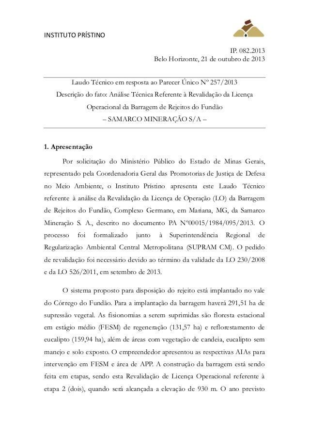 INSTITUTO PRÍSTINO IP. 082.2013 Belo Horizonte, 21 de outubro de 2013 Laudo Técnico em resposta ao Parecer Único Nº 257/20...