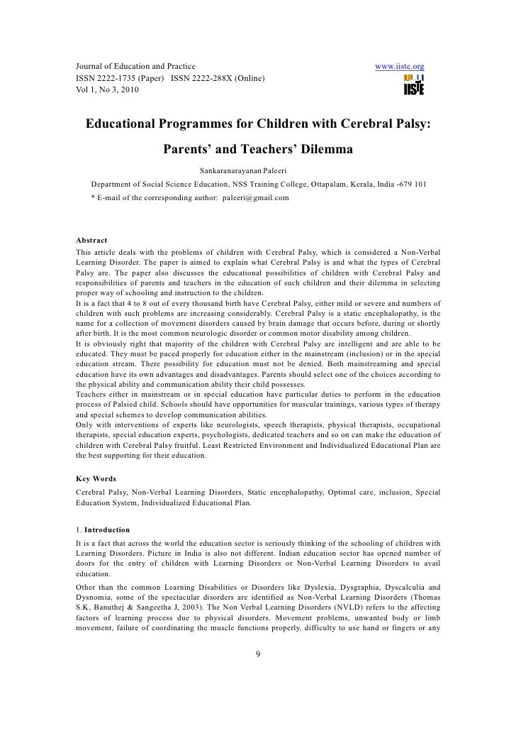 cerebral palsy research paper thesis