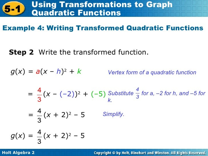 how to write the range of a quadratic function