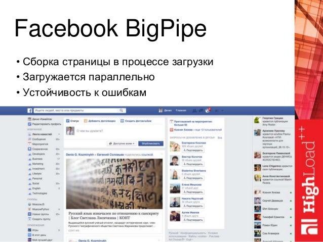 Facebook BigPipe • Сборка страницы в процессе загрузки • Загружается параллельно • Устойчивость к ошибкам