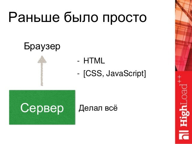 Раньше было просто Сервер Браузер - HTML - [CSS, JavaScript] Делал всё