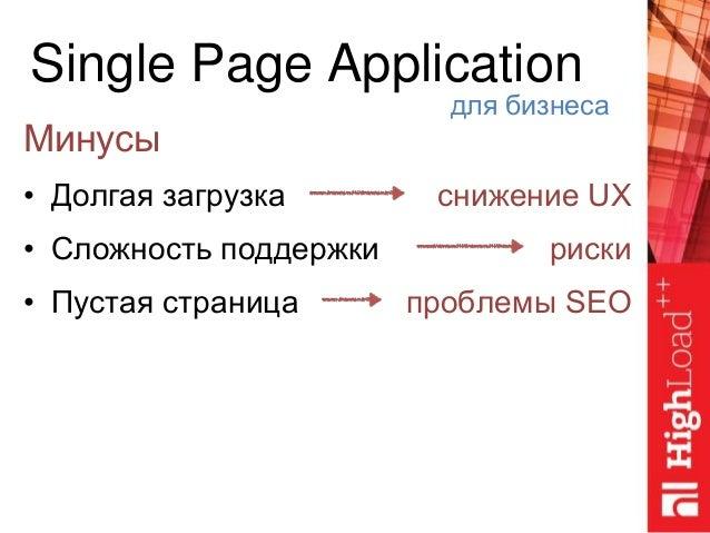 Single Page Application Минусы • Долгая загрузка • Сложность поддержки • Пустая страница для бизнеса снижение UX риски про...