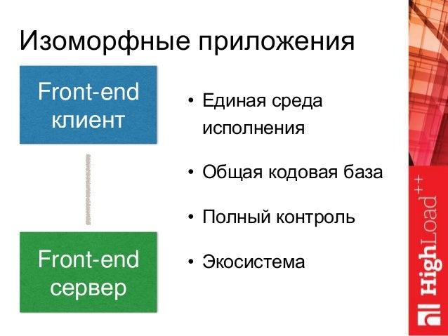 Front-end клиент Изоморфные приложения Front-end сервер • Единая среда исполнения • Общая кодовая база • Полный контроль •...