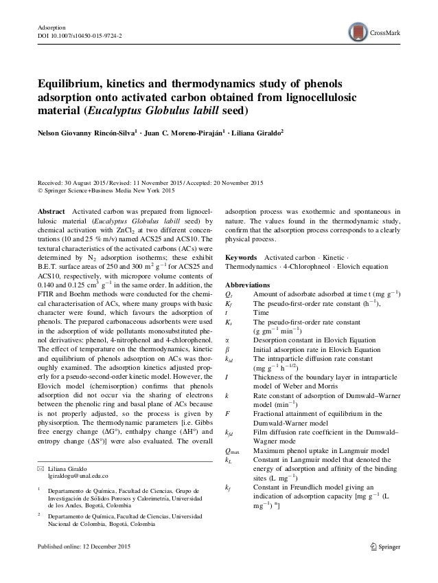 Equilibrium, kinetics and thermodynamics study of phenols adsorption onto activated carbon obtained from lignocellulosic m...