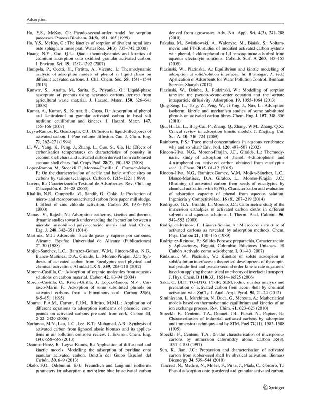 Ho, Y.S., McKay, G.: Pseudo-second-order model for sorption processes. Process Biochem. 34(5), 451–465 (1999) Ho, Y.S., Mc...