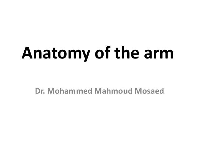 Anatomy of the arm Dr. Mohammed Mahmoud Mosaed