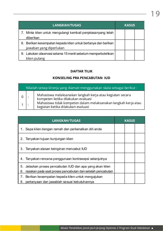 Modul Pendidikan Jarak Jauh Jenjang Diploma 3 Program Studi Kebidanan 19 LANGKAH/TUGAS KASUS 7. Minta klien untuk mengula...