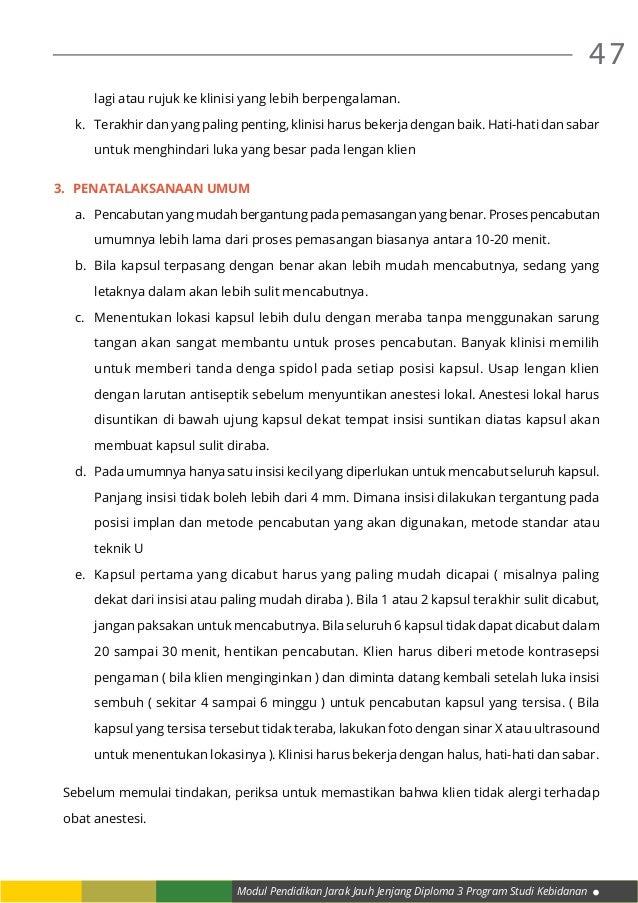 Modul Pendidikan Jarak Jauh Jenjang Diploma 3 Program Studi Kebidanan 47 lagi atau rujuk ke klinisi yang lebih berpengalam...