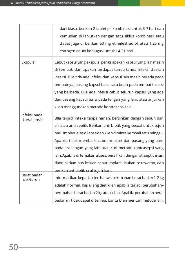 Modul Pendidikan Jarak Jauh Pendidikan Tinggi Kesehatan 50 dari biasa, berikan 2 tablet pil kombinasi untuk 3-7 hari dan k...